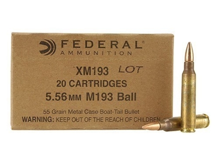 Federal Ammunition 5.56x45mm NATO 55 Grain XM193 Full Metal Jacket Boat Tail Box of 20