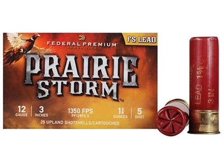 "Federal Premium Prairie Storm Ammunition 12 Gauge 3"" 1-1/4 oz #5 Plated Shot Shot Box of 25"