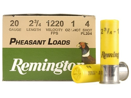 "Remington Pheasant Ammunition 20 Gauge 2-3/4"" 1 oz #4 Shot Box of 25"