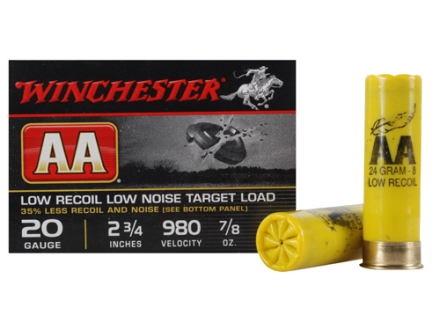"Winchester AA Featherlite Target Ammunition 20 Gauge 2-3/4"" 7/8 oz #8 Shot Case of 250 (10 Boxes of 25)"