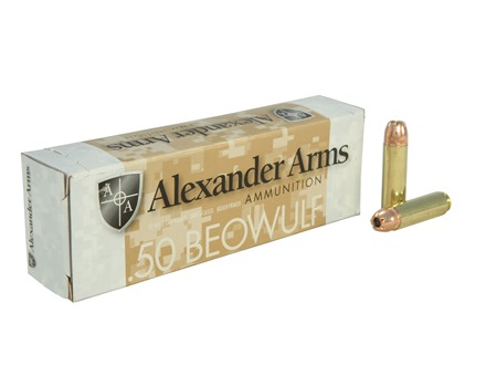 Alexander Arms Ammunition 50 Beowulf 350 Grain Hornady XTP Jacketed Hollow Point Box of 20
