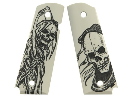 Hogue Grips 1911 Government, Commander Ivory Polymer Grim Reaper Pattern