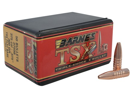 Barnes Triple-Shock X Bullets 375 Caliber (375 Diameter) 300 Grain Hollow Point Flat Base Lead-Free Box of 50