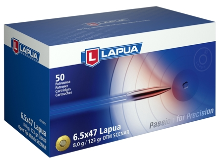 Lapua Scenar Ammunition 6.5x47 Lapua 123 Grain Hollow Point Boat Tail Box of 50