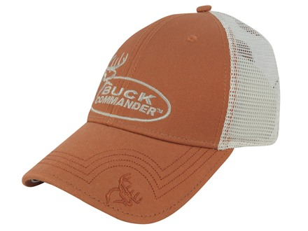 Buck Commander Mesh Logo Flex Fit Cap Cotton Polyester Blend Orange and White