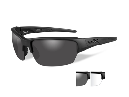 Wiley X Black Ops WX Saint Sunglasses Smoke Gray and Clear Lens