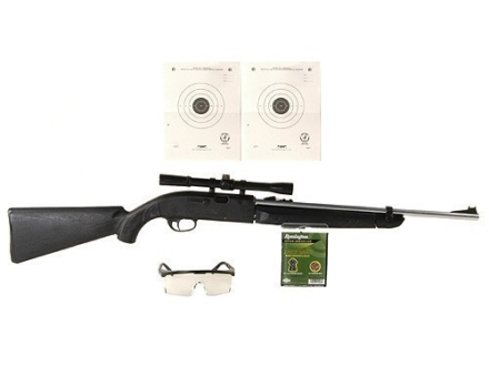 Remington AirMaster 77 Air Rifle 177 Caliber Black Synthetic Stock Silver Barrel with Crosman Airgun Scope 4x 20mm Matte