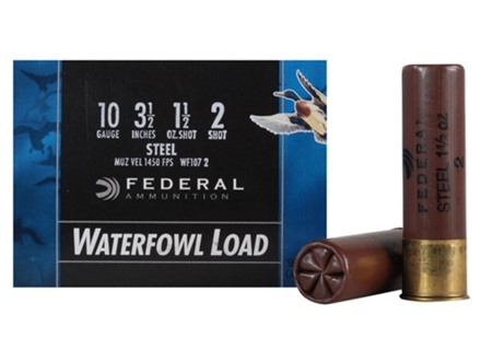 "Federal Speed-Shok Waterfowl Ammunition 10 Gauge 3-1/2"" 1-1/2 oz #2 Non-Toxic Steel Shot"