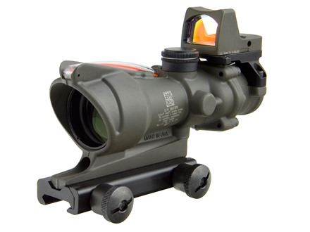 Trijicon ACOG TA31-RMR BAC Rifle Scope 4x 32mm Dual-Illuminated Crosshair 223 Remington Reticle with 3.25 MOA RMR Red Dot Sight and TA51 Flattop Mount Cerakote Olive Drab Green