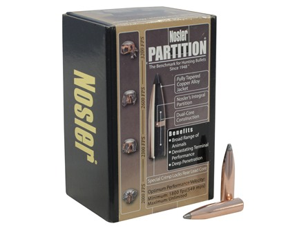Nosler Partition Bullets 264 Caliber, 6.5mm (264 Diameter) 140 Grain Spitzer Box of 50