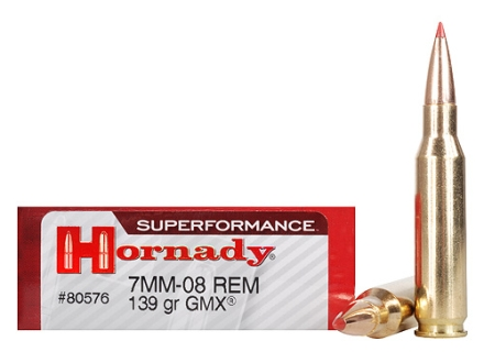 Hornady SUPERFORMANCE GMX Ammunition 7mm-08 Remington 139 Grain Gilding Metal Expanding Boat Tail Lead-Free Box of 20