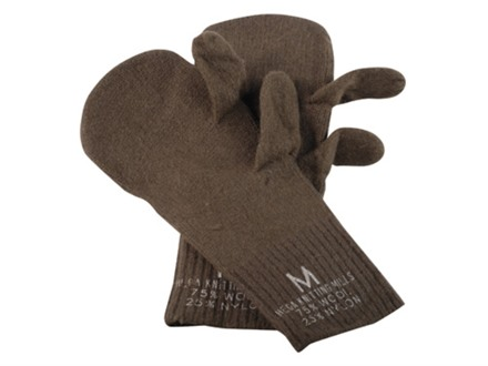 Military Surplus Trigger Finger Mitten Inserts Wool and Nylon Medium Olive Drab