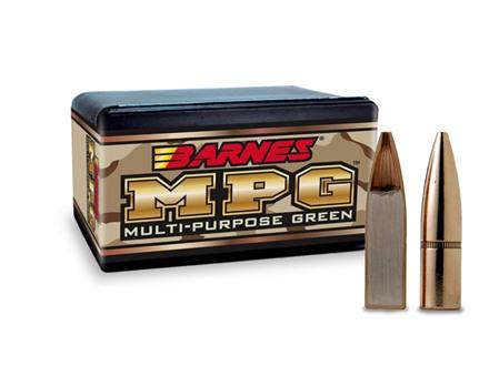 Barnes Multi-Purpose Green (MPG) Bullets 22 Caliber (224 Diameter) 55 Grain Hollow Point Lead-Free Box of 100