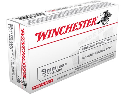 Winchester USA Ammunition 9mm Luger 147 Grain Jacketed Hollow Point