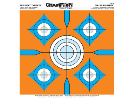 "Champion Re-Stick 5 Bull Blue and Orange Self-Adhesive Target 14.5"" x 14.5"" Paper Pack of 25"