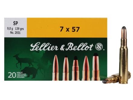 Sellier & Bellot Ammunition 7x57mm (7mm Mauser) 139 Grain Soft Point Box of 20