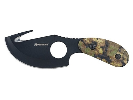 "Mossberg Skinning Knife 4"" 440 Stainless Steel Gut Hook Blade Black Polymer Handle Camo"
