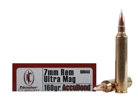 Nosler Trophy Grade Ammunition 7mm Remington Ultra Magnum 160 Grain AccuBond Box of 20