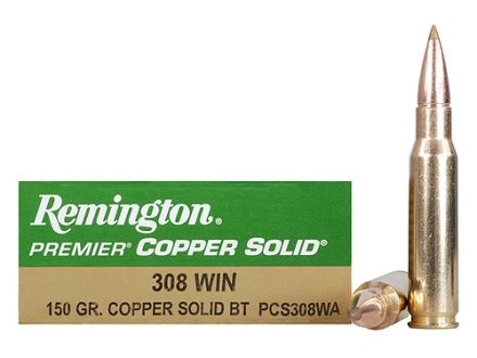 Remington Premier Ammunition 308 Winchester 150 Grain Copper Solid Tipped Boat Tail Lead-Free Box of 20