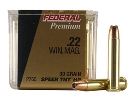 Federal Premium V-Shok Ammunition 22 Winchester Magnum Rimfire (WMR) 30 Grain Speer TNT Jacketed Hollow Point Box of 50