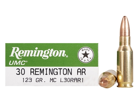 Remington UMC Ammunition 30 Remington AR 123 Grain Full Metal Jacket  Box of 20