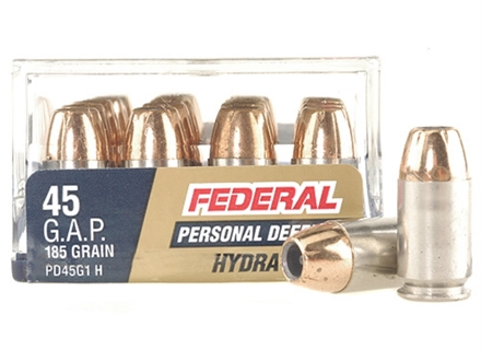 Federal Premium Personal Defense Reduced Recoil Ammunition 45 GAP 185 Grain Hydra-Shok Jacketed Hollow Point Box of 20