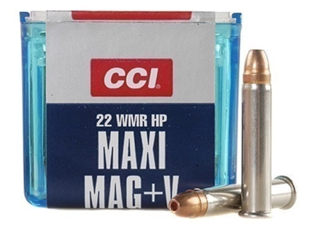 CCI Maxi-Mag +V Ammunition 22 Winchester Magnum Rimfire (WMR) 30 Grain Jacketed Hollow Point