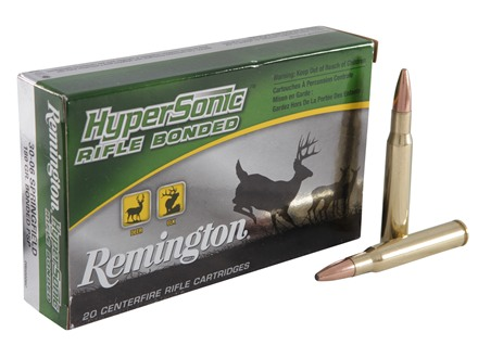 Remington HyperSonic Ammunition 30-06 Springfield 180 Grain Core-Lokt Ultra Bonded Pointed Soft Point Box of 20