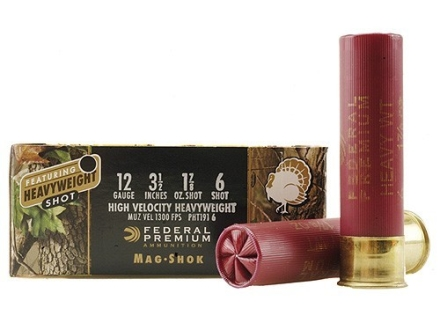 "Federal Premium Mag-Shok Turkey Ammunition 12 Gauge 3-1/2"" 1-7/8 oz #6 Heavyweight Non-Toxic Shot Flitecontrol Wad Box of 5"