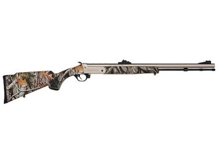 "Traditions Buck Stalker Muzzleloading Rifle 50 Caliber Synthetic Stock Mossy Oak Break-Up Camo 24"" Nickel Barrel"