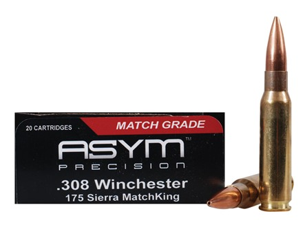 ASYM Precision Match Ammunition 308 Winchester 175 Grain Sierra MatchKing Hollow Point Boat Tail Box of 20