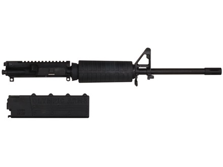 "Olympic Arms AR-15 A3 Flat-Top Upper Assembly 10mm Auto 1 in 16"" Twist 16"" Barrel Stainless Steel Black with M4 Handguard, Flash Hider, 18-Round Magazine"