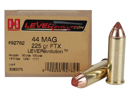 Hornady LEVERevolution Ammunition 44 Remington Magnum 225 Grain Flex Tip eXpanding Box of 20