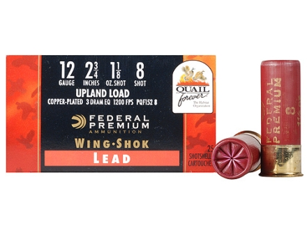 "Federal Premium Wing-Shok Quail Forever Ammunition 12 Gauge 2-3/4"" 1-1/8 oz #8 High Velocity Copper Plated Shot Box of 25"