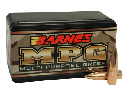 Barnes Multi-Purpose Green (MPG) Bullets 30 Caliber (308 Diameter) 150 Grain Hollow Point Flat Base Lead-Free Box of 50