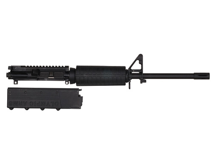 "Olympic Arms AR-15 A3 Flat-Top Upper Assembly 45 ACP 1 in 16"" Twist 16"" Barrel Stainless Steel Black with M4 Handguard, Flash Hider, 18-Round Magazine"