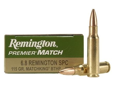 Remington Premier Match Ammunition 6.8mm Remington SPC 115 Grain Sierra MatchKing Hollow Point