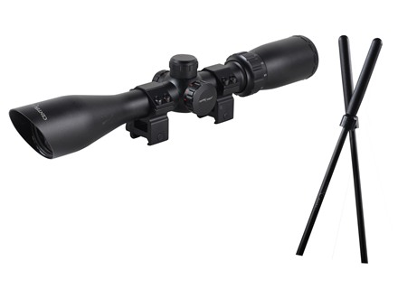 Center Point Adventure Class Rifle Scope 3-9x 40mm Dual Illuminated Mil-Dot Reticle Matte With Collapsible Shooting Sticks and Rings