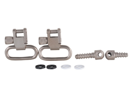 "GrovTec Sling Swivel Studs with 1"" Locking Swivels Set with Wood Screw Forend Satin Nickel Plated"