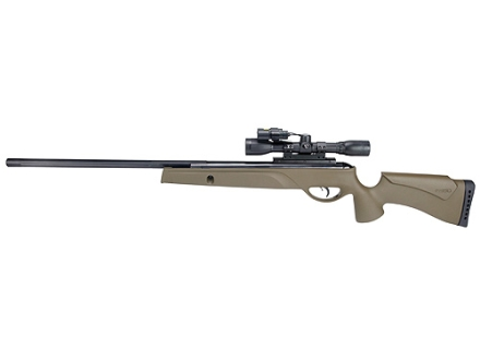Gamo Varmint Hunter HP Air Rifle 177 Caliber Olive Drab Synthetic Stock Blue Barrel with Gamo Airgun Scope 4x 32mm Matte Light and Laser