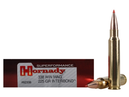 Hornady SUPERFORMANCE Ammunition 338 Winchester Magnum 225 Grain InterBond Boat Tail Box of 20