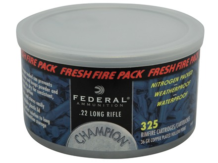 Federal Champion Fresh Fire Ammunition 22 Long Rifle 36 Grain Plated Lead Hollow Point Sealed Can of 325