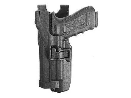 BlackHawk Level 3 Serpa Belt Holster Left Hand Glock 17, 22, 31 with Xiphos Tactical Light Polymer Black