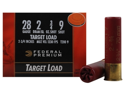 "Federal Premium Gold Medal Target Ammunition 28 Gauge 2-3/4"" 3/4 oz #9 Shot Box of 25"