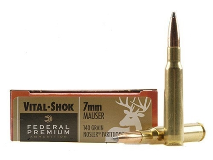 Federal Premium Vital-Shok Ammunition 7x57mm Mauser (7mm Mauser) 140 Grain Nosler Partition Box of 20