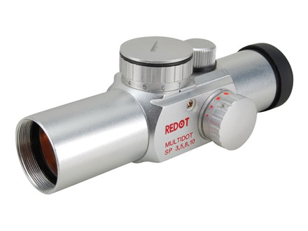 Millett Red Dot Sight 30mm Tube 1x Variable Sized Dot (3, 5, 8, 10 MOA) with Weaver-Style Rings Silver