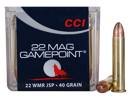 CCI GamePoint Ammunition 22 Winchester Magnum Rimfire (WMR) 40 Grain Jacketed Spire Point Box of 50