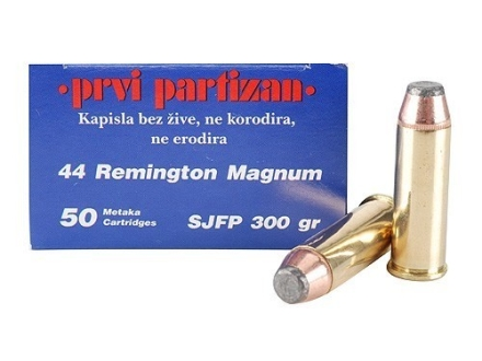 Prvi Partizan Ammunition 44 Remington Magnum 300 Grain Semi-Jacketed Soft Point Box of 50