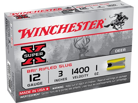 "Winchester Super-X Ammunition 12 Gauge 3"" 1 oz BRI Sabot Slug Box of 5"