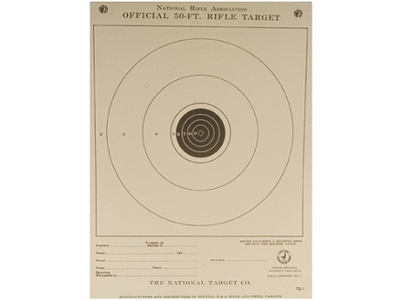 NRA Official Smallbore Rifle Training Targets TQ-1/1 50' Junior Rifle Paper Package of 100